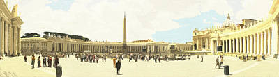 Digital Art - St. Peter's Square The Vatican by Anthony Murphy