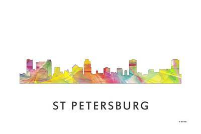 Florida House Digital Art - St Petersburg Florida Skyline by Marlene Watson