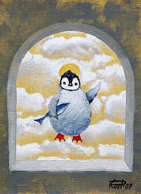 St Pinguin Bringer Of Fish Art Print by Poul Costinsky