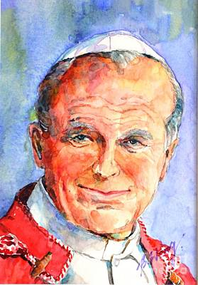 Painting - St. Pope Paul John II by Betty M M Wong