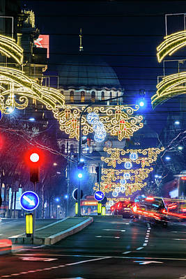 Photograph - St. Sava Temple In Belgrade Playing Hide And Seek With The Christmas Decorations by Dejan Kostic