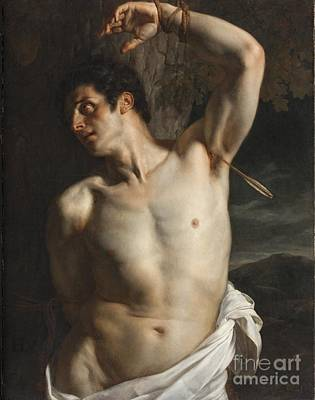 Naked Painting - St. Sebastian by Hippolyte Paul Delaroche