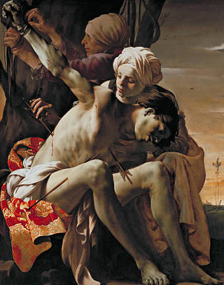 Painting - St Sebastian Tended By Irene And Her Maid by Hendrick ter Brugghen