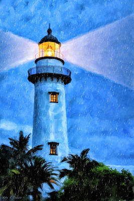 Art Print featuring the painting Lights On For You At St. Simons by Mark Tisdale