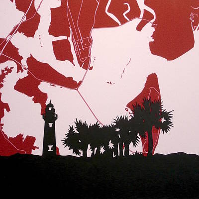 Beach Landscape Mixed Media - St Simons Island Map With Lighthouse Silhouette And Palm Trees by Anna Ruzsan