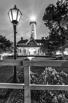 Photograph - St. Simons Lighthouse Black And White by Debra and Dave Vanderlaan
