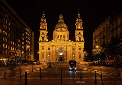 Photograph - St. Stephen's Basilica At Night In Budapest by Artur Bogacki