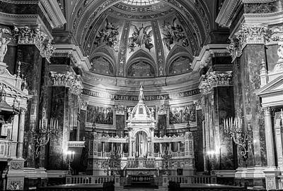 Budapest Attractions Photograph - St Stephens Basilica Interior Budapest Bw II by Joan Carroll