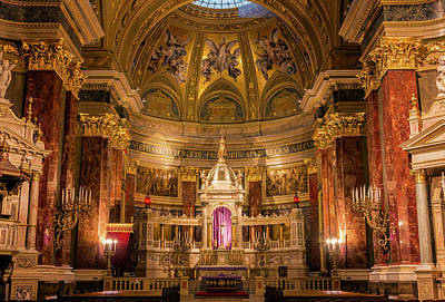 Budapest Attractions Photograph - St Stephens Basilica Interior Budapest II by Joan Carroll