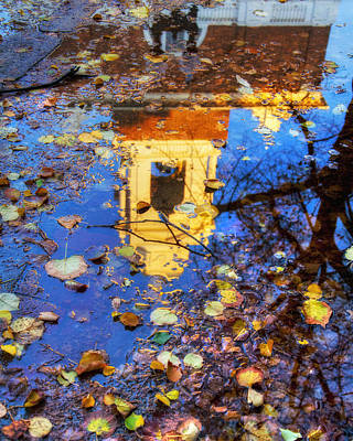 Photograph - St. Stephen's Church Autumn Reflection - Boston by Joann Vitali