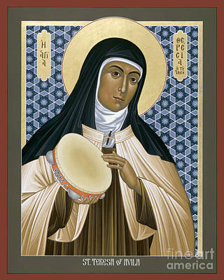 Holy Trinity Icon Painting - St. Teresa Of Avila - Rltoa by Br Robert Lentz OFM