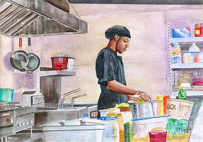 Painting - St Thomas Chef Kareem by Carol Flagg