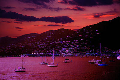 Port Town Digital Art - St. Thomas Sunset by Barry Blackman