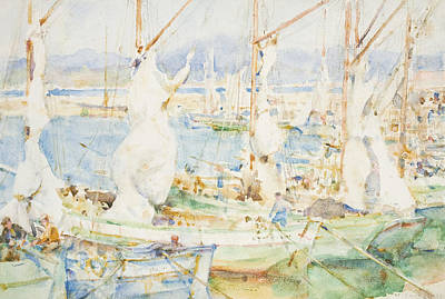 Sailboats Drawing - St Tropez by Henry Scott Tuke
