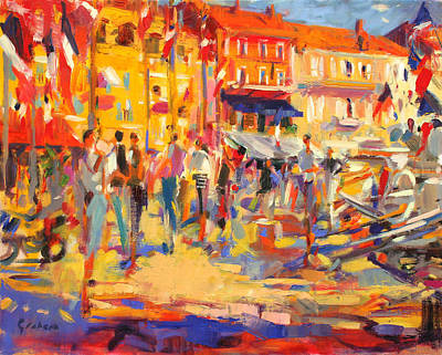 St Tropez Promenade Art Print by Peter Graham