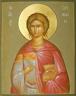 Egg Tempera Painting - St Tryphon by Julia Bridget Hayes