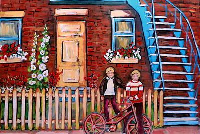 Montreal Neighborhoods Painting - St. Urbain Street Boys by Carole Spandau