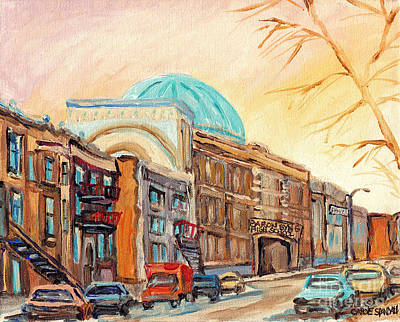 Mordecai Richler Painting - St Urbain Street Scene Baron Byng High School Painting Montreal Memories Carole Spandau              by Carole Spandau