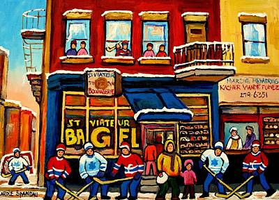 Kids Playing Hockey Painting - St. Viateur Bagel Hockey Practice by Carole Spandau
