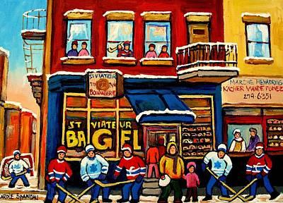 Jewish Montreal Painting - St. Viateur Bagel Hockey Practice by Carole Spandau
