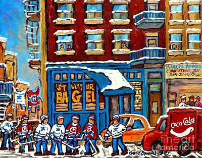 Montreal Street Life Painting - St Viateur Bagel Paintings Montreal Memories Street Hockey Coca Cola Truck Canadian Winter Scenes    by Carole Spandau