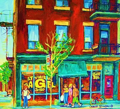Painting - St Viateur Bagel Shop by Carole Spandau