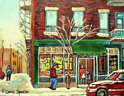 Montreal Winterscenes Painting - St Viateur Bagel Shop Montreal by Carole Spandau