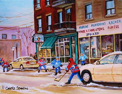 Montreal Winter Scenes Painting - St. Viateur Bagel With Boys Playing Hockey by Carole Spandau