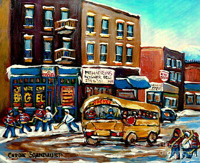 St. Viateur Bagel With Hockey Bus Painting - St. Viateur Bagel With Hockey Bus  by Carole Spandau