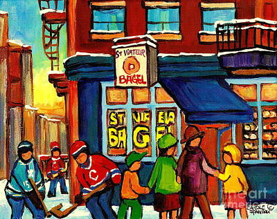 Montreal Cityscapes Painting - St. Viateur Bagel With Hockey by Carole Spandau