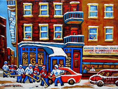 Kids Playing Hockey Painting - St Viateur Bagel With Hockey Montreal Winter Street Scene by Carole Spandau