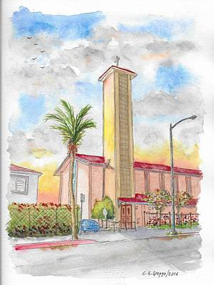 Saint-lo Painting - St. Victor's Catholic Church, West Hollywood, Ca by Carlos G Groppa