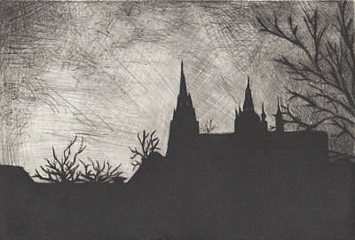 Drawing - St. Vitis In Black And White by Erik Paul