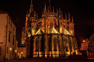 Photograph - St. Vitus Cathedral At Night by Jenny Rainbow