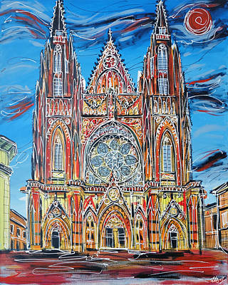 Prague Castle Painting - St Vitus Cathedral  by Laura Hol