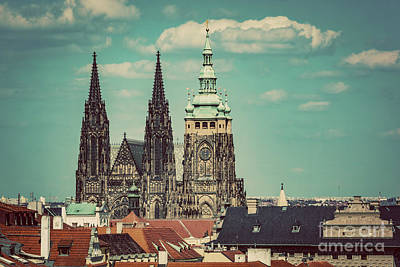 Photograph - St. Vitus Cathedral, Prague, Czech Republic. Vintage by Michal Bednarek