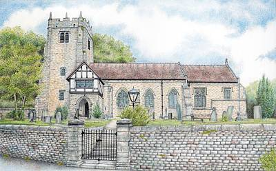 Graveyard Drawing - St Wilfrids Church Halton Lancashire by Sandra Moore