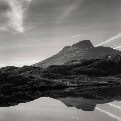 Moire Photograph - Stac Pollaidh Reflection by Dave Bowman