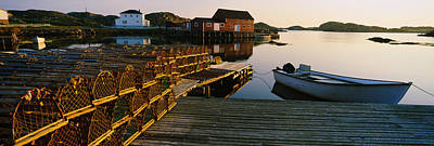 Stack Of Lobster Traps At A Dock Art Print