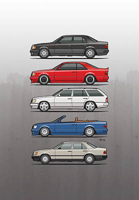 Wagon Mixed Media - Stack Of Mercedes Benz W124 E-class by Monkey Crisis On Mars
