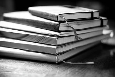 Literature Photograph - Stack Of Notebooks by FOTOGRAFIE melaniejoos