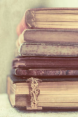 Stack Of Old Books Art Print by Elly De vries