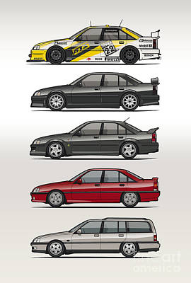 80s Cars Digital Art - Stack Of Opel Omegas Vauxhall Carlton A by Monkey Crisis On Mars