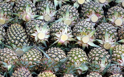 Photograph - Stack Of Ripe Pineapples by Yali Shi