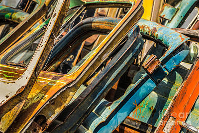 Montana Digital Art - Stack Of Rusty Car Doors by Jerry Fornarotto