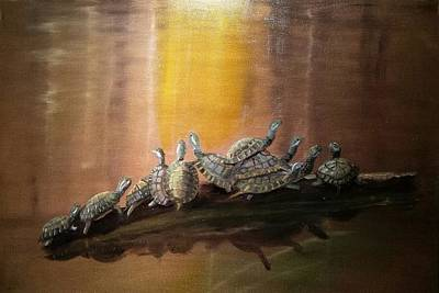 Slider Painting - Stack Of Turtles by Cindy Harvell