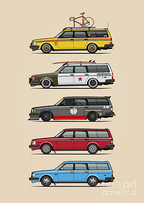 Stack Of Volvo 200 Series 245 Wagons Art Print by Monkey Crisis On Mars