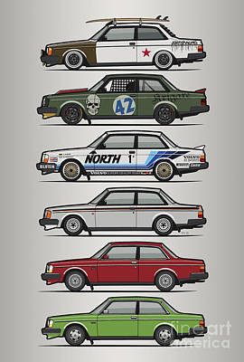 San Diego Artist Digital Art - Stack Of Volvo 242 240 Series Brick Coupes by Monkey Crisis On Mars