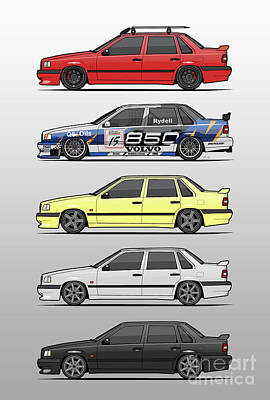 Pegasus Wall Art - Digital Art - Stack Of Volvo 850r 854r T5 Turbo Saloon Sedans by Monkey Crisis On Mars