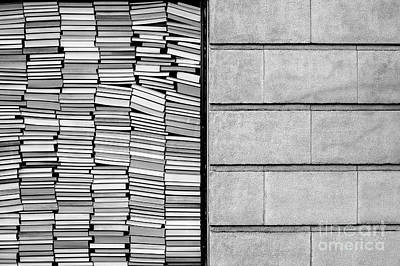 Photograph - Stacked Books Against Glass by Jim Corwin